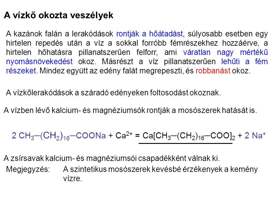 2 CH3─(CH2)16─COONa + Ca2+ = Ca[CH3─(CH2)16─COO]2 + 2 Na+